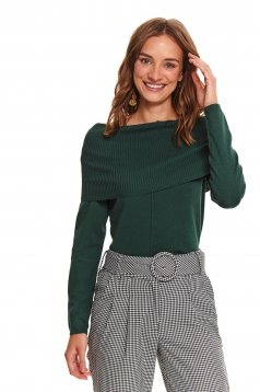 Darkgreen sweater casual knitted long sleeved