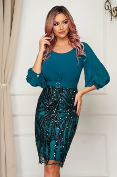 Occasional midi pencil dirty green dress from veil fabric laced with sequin embellished details