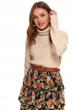 Peach sweater casual flared turtleneck knitted