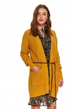 Yellow sweater casual cardigan knitted with pockets