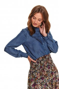 Blue women`s shirt casual denim with ruffle details