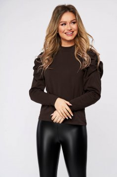 Brown women`s blouse casual tented high shoulders knitted