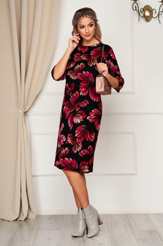 StarShinerS black dress daily midi straight knitted with floral print
