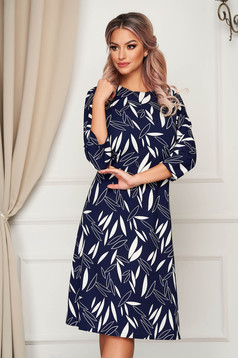 Darkblue dress midi daily slightly elastic fabric a-line
