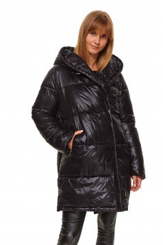Black jacket from slicker casual the jacket has hood and pockets
