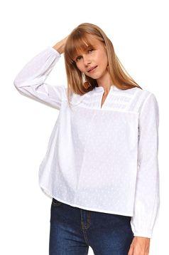 Bluza dama Top Secret alba casual cu croi larg si aplicatii din plumeti