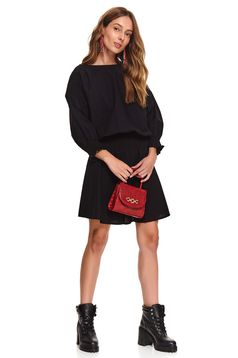 Black dress casual short cut cloche long sleeved