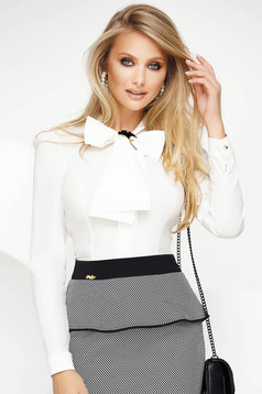 Women`s shirt white office with tented cut slightly elastic cotton with bow