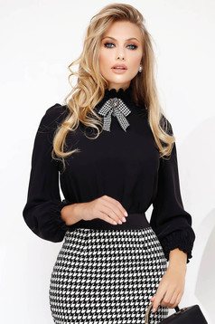 Black office flared women`s blouse with puffed sleeves high collar
