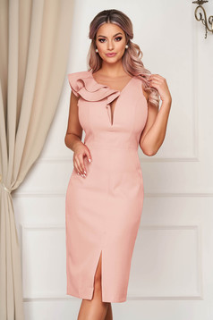 StarShinerS lightpink occasional dress slightly elastic fabric with ruffle details midi pencil