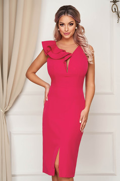 StarShinerS fuchsia occasional dress slightly elastic fabric with ruffle details midi pencil