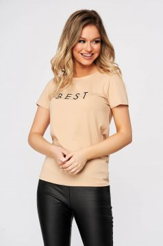 Peach t-shirt loose fit cotton with graphic details