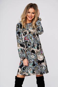 Rochie StarShinerS khaki de zi din material tricotat cu croi larg cu maneci lungi