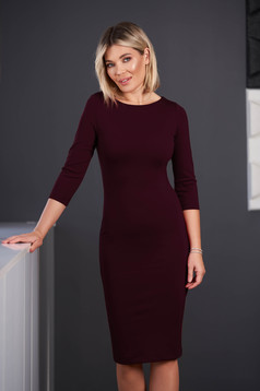 StarShinerS burgundy dress office midi pencil from elastic fabric with 3/4 sleeves