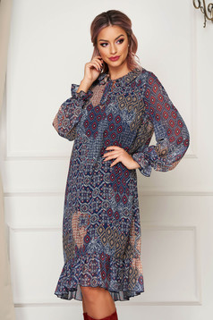 Darkblue dress midi daily flared from veil fabric long sleeved