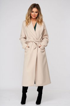 Cream coat elegant straight from non elastic fabric accessorized with tied waistband