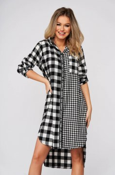 Black dress casual flared asymmetrical cotton with chequers