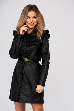 Black dress casual short cut from ecological leather straight with ruffle details