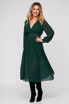 Rochie SunShine verde eleganta midi din voal plisat in clos cu elastic in talie