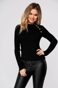Black women`s blouse casual tented knitted with button accessories
