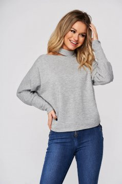Grey women`s blouse casual from soft fabric flared with cut out material