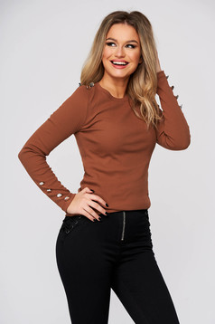 Brown women`s blouse casual tented from striped fabric with button accessories