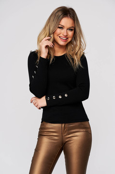 Black women`s blouse casual tented from striped fabric with button accessories