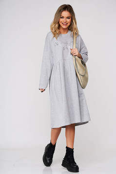 Grey dress casual midi flared cotton long sleeved