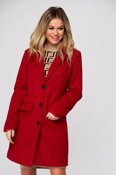 Red coat casual cloth with straight cut with pockets