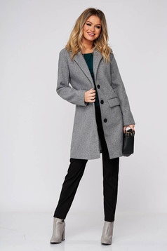 Grey coat casual cloth with straight cut with pockets
