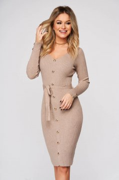 Cappuccino dress midi daily pencil knitted fabric with v-neckline