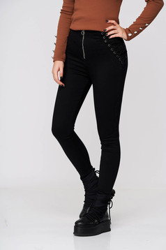 Black jeans - trousers casual denim skinny jeans high waisted with laced details