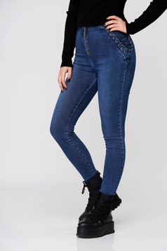 Blue jeans - trousers casual denim skinny jeans high waisted with laced details