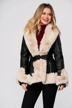 Black jacket from ecological leather arched cut with faux fur accessory