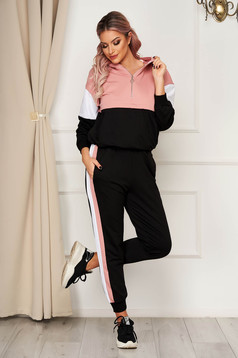 Casual black from two pieces sport 2 pieces with trousers slightly elastic cotton