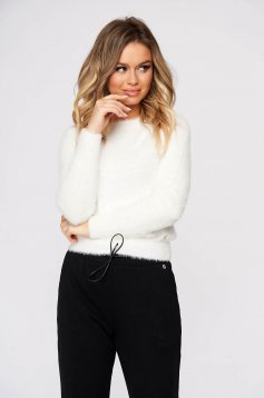 Pulover Top Secret alb casual cu un croi mulat din material tricotat
