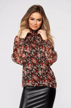 White women`s blouse casual flared turtleneck voile fabric with floral print