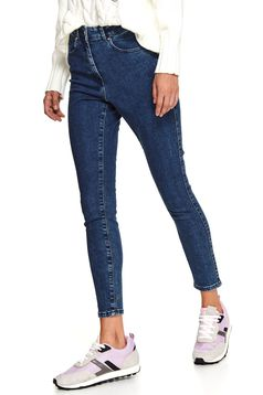 Blue trousers casual denim skinny jeans with embellished accessories