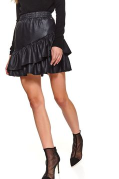 Black skirt short cut clubbing cloche with ruffle details from ecological leather