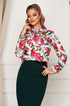 Women`s blouse StarShinerS white elegant short cut from veil fabric with floral print