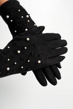 Black accesories from velvet fabric with pearls
