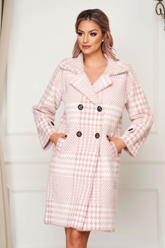 Pink coat elegant wool flared with chequers