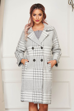 Grey coat elegant wool flared with chequers