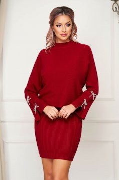 Burgundy lady set casual 2 pieces with dress knitted