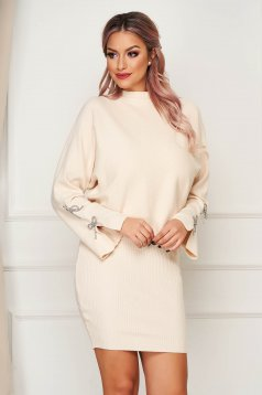 Cream lady set casual 2 pieces with dress knitted