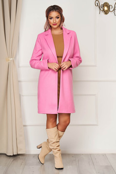 Pink coat office cloth straight with pockets