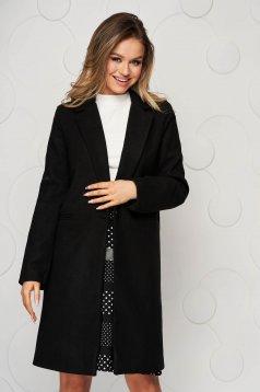 Palton SunShine negru office din stofa cu un croi drept si buzunare