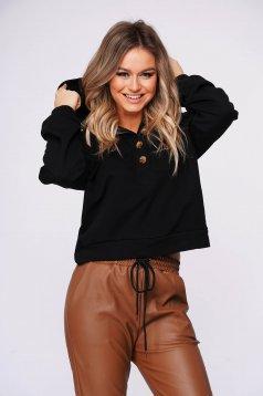 Black women`s blouse casual short cut flared slightly elastic cotton
