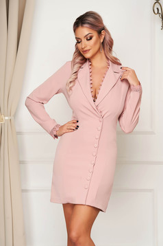 Lightpink dress elegant short cut blazer type with embroidery details cloth