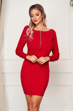 Red dress short cut daily pencil knitted zipper accessory